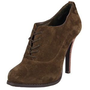 Chinese Laundry Suede Green Lace Up Ankle Booties